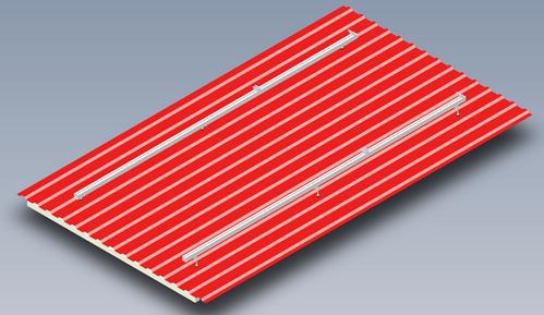 Rys. 1 Model konstrukcji SmartFrame dla pionowego ułożenia profili  na dachu z blachy trapezowej