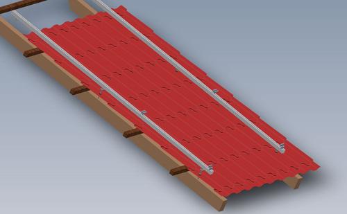 Rys. 2 Model konstrukcji SmartFrame dla pionowego ułożenia profili  na dachu z blachodachówki