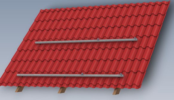 Rys. 3 Model konstrukcji SmartFrame dla poziomego ułożenia profili na blacho dachówce