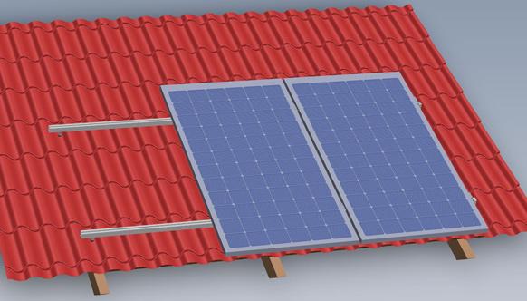 Rys. 4 Modułu fotowoltaiczne ułożone wertykalnie na konstrukcji SmartFrame